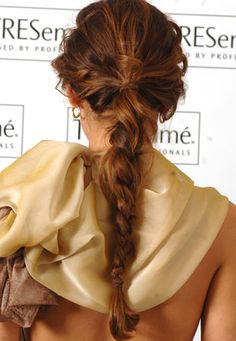 Gorgeous pony/braid. I would wrap some hair around that rubber band though.
