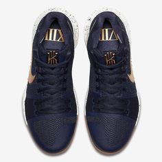 bb195905af36 Details about Nike Kyrie Irving 3 Navy Gum Obsidian Metallic Gold White  Size 7.5