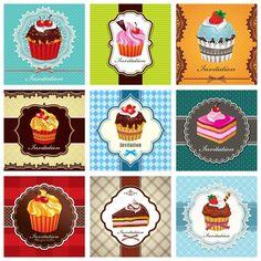 Coleção 60 Vetores Cupcake Vintage Cartões Café Poster Logos - R$ 13,00 em Mercado Livre