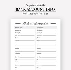 A do it yourself printable address book is an easy way to organize bank account information a5 planner finance planner financial planner printable planner inserts bank account info by tangerineprintables on etsy solutioingenieria Images