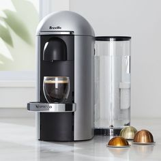 Nespresso ® by Breville Vertuo Deluxe Plus Silver Coffee Maker - Crate and Barrel Cold Coffee Brewer, Coffee Drinks, Coffee Cans, Coffee Machine Design, Coffe Machine, Coffee Maker Reviews, Cappuccino Machine, Blended Coffee, Best Coffee