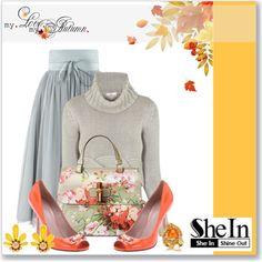 SHEIN: Grey High Waist Skirt