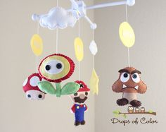 Baby Crib Mobile  Baby Mobile  Mario Brothers by dropsofcolorshop, $85.00