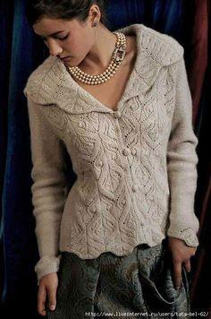 Ravelry: Kelmscott pattern by Carol Sunday. I love this pattern-so over my skill level right now Ravelry: Kelmscott pattern by Carol Sunday. I love this pattern-so over my skill level… Knit Jacket, Knit Cardigan, Lace Sweater, Crochet Jacket, Mens Knit Sweater Pattern, Sweater Patterns, Cardigan Pattern, Lace Knitting, Knit Crochet
