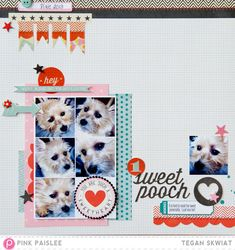 Scrapbook layout using Pink Paislee's Hey Kid and Sentiment Series to make Valentine's Da y layout about my sweet dog!   Also shows how to print IPhone photos from home
