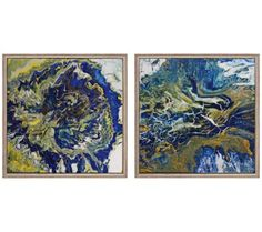 "Set of 2 Tropical Storm I/II 13"" Square Abstract Wall Art 