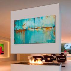Pinturas al óleo abstractas grande turquesa azul verde por Artoosh