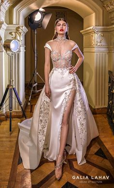 galia lahav couture bridal cap sleeves illusion high neck sweetheart neckline heavily embellished bustier slit skirt glamorous a line wedding dress sheer back chapel train (miranda) mv -- Steal the Show with Galia Lahav Spring 2020 Wedding Dresses Sheer Wedding Dress, Dream Wedding Dresses, Wedding Gowns, Wedding Dress Sparkle, Prom Dress, Bridesmaid Dresses, Column Dress, Couture Mode, Gowns Couture