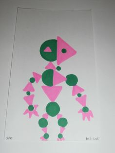 4-16-2015 Minimalist / cubist Cartoon character ( Circles and triangles )