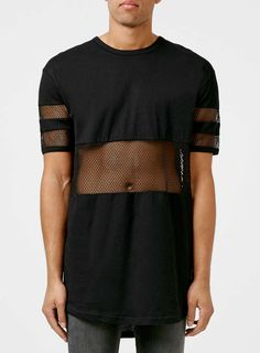 Black Mesh Cut and Sew Longline T-Shirt - TOPMAN