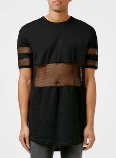 Black Mesh Cut and Sew Longline T-Shirt - TOPMAN
