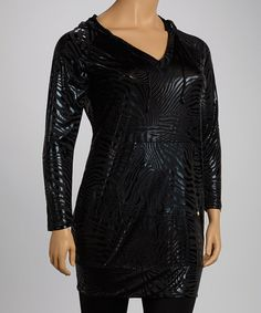 Take a look at this Black Zebra Liquid Hooded Dress - Plus by Apple Bottoms on #zulily today!