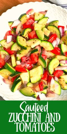 This is the quickest vegetable side dish ever. Delicious sautéed Zucchini and Tomatoes dish is perfect for so many meals. Easy Zucchini Recipes, Fresh Tomato Recipes, Healthy Recipes, Simple Recipes, Summer Recipes, Delicious Recipes, Yummy Food, Side Salad Recipes, Side Dish Recipes