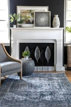 Rugs USA Dark Gray Ecstatica Shrouded Medallion rug - Traditional Rectangle x Fireplace Remodel, Fireplace Mantle, Fireplace Design, Fireplace Surrounds, Home Living Room, Living Room Designs, Living Room Decor, Family Room Design, Rugs Usa