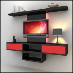 tv units | TV / Wall Unit Modern Design X_8 3D Model by thedesignplus