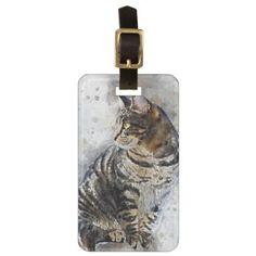#stripes - #Cute Tabby Cat Watercolor Art Bag Tag