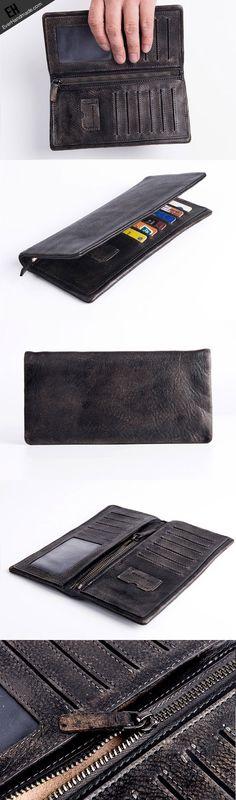 Handmade long wallet leather men phone clutch vintage wallet for