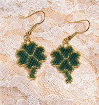 Beaded Shamrock Earrings Pattern by Ann McKee AKA Shadowglen Designs at Bead-Patterns.com