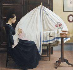 Bernard de Monvel (1881~1949)  Delfina devant le berceau de Sylvie, (1923), French painter