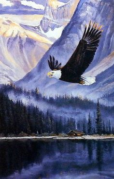In the print Breaking the Silence, Andrew Kiss has painted a majestic eagle soaring over a mountain lake. Check our web site for other great eagle prints and wall art. Available in an open edition unf