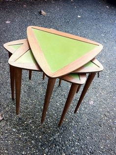 oooh... ooooh.... MCM nesting triangle tables. Sold y Barefoot Dwelling on etsy... anyone know of others like this? Love.