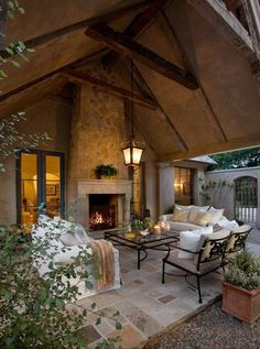 Outdoor living room and fireplace. French Farmhouse by Giffin & Crane. Browse inspirational photos of modern outdoor spaces. From yards and gardens to patios and pools, explore design options for the ideal outdoor escape. Patio Design, House Design, Garden Design, Backyard Designs, Landscape Design, Design Room, Design Hotel, Cottage Design, Modern Outdoor Living