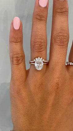 Wedding Ring Sets Unique, Stacked Wedding Bands, Wedding Band Sets, Gold Wedding Rings, Diamond Wedding Bands, Bridal Rings, Stacked Engagement Ring, Dream Engagement Rings, Oval Solitaire Engagement Ring