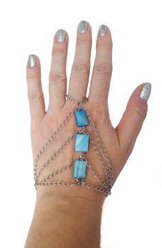 Slave bracelet blue bracelet ring bracelet by NotYourMomsJewellery Gypsy Bracelet, Slave Bracelet, Ring Bracelet, Bracelet Making, Summer Bracelets, Blue Flats, Boho, Chain, Beads