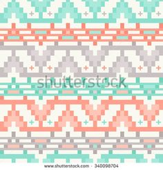 Seamless Tribal Chevron Pattern in Coral, Mint and Gray Colors. Ethnic Style Print for Textile Design. Vector Illustration