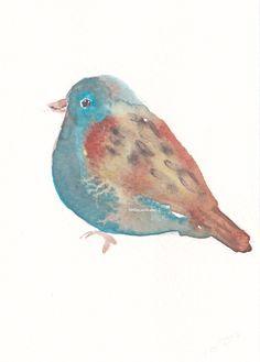 Bird Print Rustic Bird  Watercolor Painting