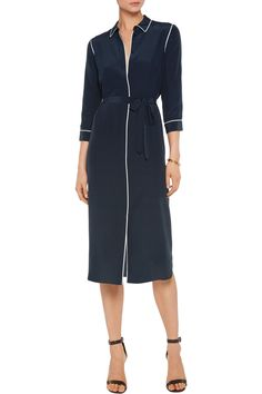Shop on-sale Iris and Ink Zanna silk midi shirt dress. Browse other discount designer Dresses & more on The Most Fashionable Fashion Outlet, THE OUTNET. Silk Shirt Dress, Coat Dress, Casual Dresses, Dresses For Work, Iranian Women Fashion, White Midi Dress, Work Attire, Fashion Outlet, Blue Fashion