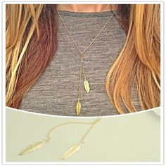 Dual Gold Leaf Pendant Necklace. A stylish & minimalist gold colour necklace for daily wear. Chain has 2 gold leaf pendants adding trendy look to this chain