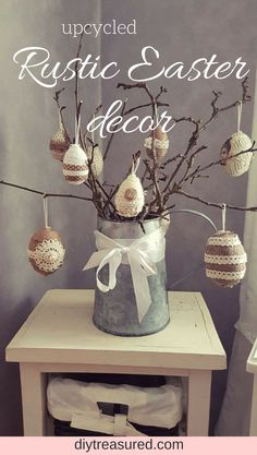 Have to try this Make your own rustic Easter decor Upcycle those plastic and styrofoam eggs into unique farmhouse and shabby style decorations easter rustic shabbychic farmhouse diy craft upcycle repurpose Easter egg decor jute twin Spring Home Decor, Spring Crafts, Holiday Crafts, Easter Crafts For Kids, Crafts To Do, Diy Crafts, Kids Diy, Easter Ideas, Hoppy Easter