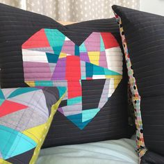 Seattle Modern Quilting and Sewing Studio Improv crazy piecing with the split personality quilt block Roll Up Design, Seattle, Heart Pillow, Pillow Talk, Quilted Pillow, Patchwork Pillow, Mini Quilts, Scrappy Quilts, Sewing Studio