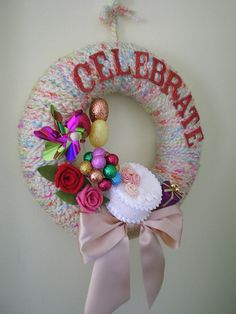 Birthday Celebrate Wreath - Yarn and Felt Wreath with Faux Cake and Balloons, 12 inch size - $45.00  (lots of styles for sale)
