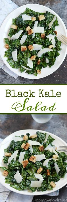 This nutrient packed Black Kale Salad is tossed with a light dressing, and topped with whole wheat croutons and shaved Parmesan for the perfect light meal   cookingwithcurls.com
