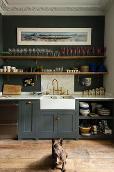 Classic English cupboards in flint by deVol kitchens with Carrara marble backsplash and countertops. / sfgirlbybay Classic English cupboards in flint by deVol kitchens with Carrara marble backsplash and countertops. Family Kitchen, New Kitchen, Kitchen Dining, Kitchen Decor, Kitchen Cabinets, Kitchen Ideas, Barn Kitchen, Kitchen Dresser, Kitchen Grey
