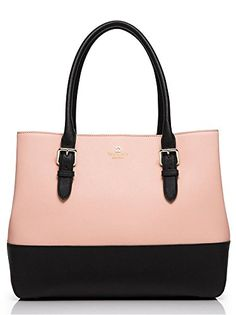 """Kate Spade Cove Street Colorblock Airel. Soft Rosetta/Black handbag with Kate Spade New York gold printed signature with tiny cutout spade. Double slide pockets and interior zipper pocket. Small faux quilt lining. Open top shoulder bag with dividing zipper pocket. 8.1"""" drop."""