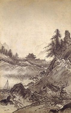 """""""Autumn and Winter Landscapes"""" (2 hanging scrolls) by Sesshu Touyou, Muromachi period (15th century), National Treasure of Japan 秋冬山水図 雪舟等楊筆(国宝)"""