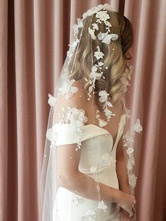 Riviera floral lace wedding veil lace ivory veil long wedding veil cathedral veil weddinggowns the sussanah gold crystal juliet veil is from our new 2016 collection soft and ethereal we just cherish this gorgeous veil the first veil Silver Wedding Gowns, Lace Wedding Dress, Wedding Attire, Floral Wedding, Wedding Dresses, Floral Lace, Silver Gown, Wedding Suits, Wedding Bridesmaids