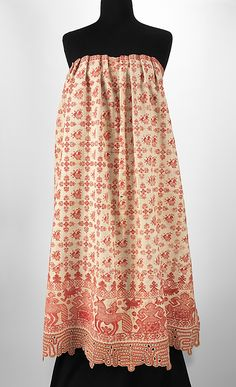 Apron Date: 1830–70 Culture: Russian Medium: linen, cotton Dimensions: 37 x 25 1/2 in. (94 x 64.8 cm) Credit Line: Brooklyn Museum Cost...