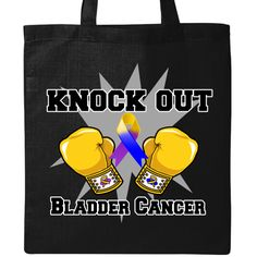 Knock Out Bladder Cancer Tote Bag - Black | Cancer Shirts | Disease Apparel | Awareness Ribbon Colors