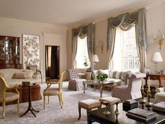 Benjamin Moore's Rose Dust is a classic shade that can be paired with pretty hues like French Lilac, and soft neutrals like gray. In this salon, all three shades have been combined to create a soft and feminine color palette by designer Matthew Patrick Smyth.