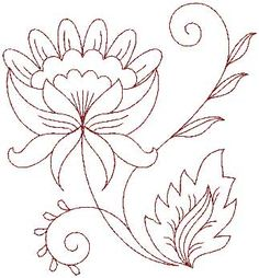 Jacobean Redwork Flower 7 (large) copyright 2011 Lindee G Embroidery. Bordado Jacobean, Floral Embroidery Patterns, Crewel Embroidery Kits, Hand Embroidery Designs, Beaded Embroidery, Cross Stitch Embroidery, Machine Embroidery, Embroidery Thread, Embroidery Supplies