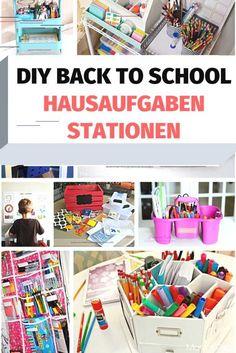 DIY Back to School Hausaufgaben Stationen Ikea Raskog, Homework Station Diy, Kids Homework, Craft Tutorials, Diy Projects, Platform Bed With Storage, Diy Back To School, School Memories, Magazine Holders