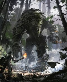 The Moss Giant rampaged the countryside before wandering off of his own volition.  By Ignacio Bazan Lazcano