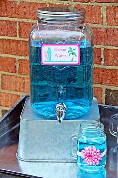 Ocean water beverage dispenser from a Hawaiian Luau Birthday Party on Kara's Party Ideas | KarasPartyIdeas.com (16)
