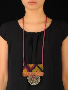 Buy Multicolor Tribal Afghani Necklace Metal Alloy Silk Yarn Jewelry Fashion Woven Jewels Gypsy Necklaces Online at Jaypore.com