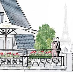 The prettiest Hotel balcony in Paris. Megan Hess Illustration, Paris Illustration, Jeff Leatham, Kerrie Hess, Paris Painting, Painted Bags, Fashion Artwork, Chanel, Cute Drawings