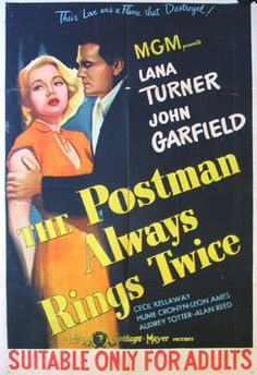 """A DAY in MOVIE HISTORY - May """"The Postman Always Rings Twice"""" film based on the novel by James M. Cain, directed by Tay Garnett and starring Lana Turner and John Garfield was released. Lauren Bacall, Jack Nicholson, Cary Grant, Alfred Hitchcock, Old Movies, Vintage Movies, Love Movie, I Movie, Movie Stars Names"""